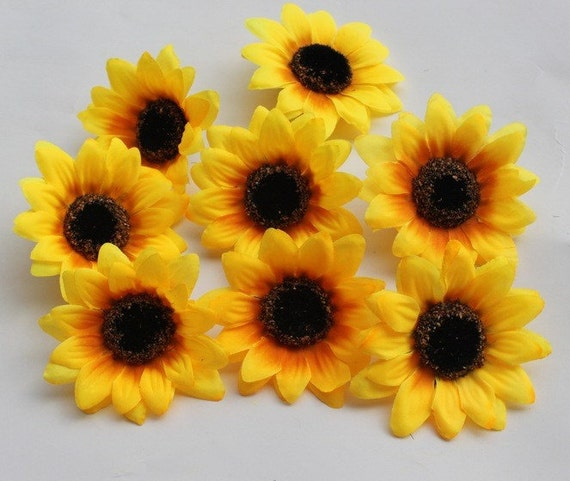 Sunflower blossom silk helianthus heads silk flower heads mightylinksfo