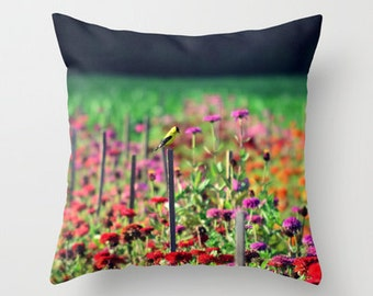 Wildflower Field, Bird Throw Pillow Case/Cover - Home Decor, Photography, Photo pillow, flowers, bird, nature, RDelean