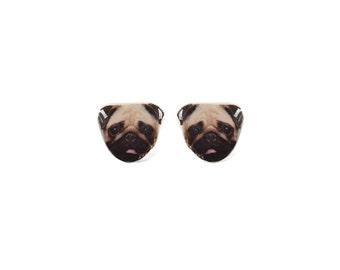 Pug Stud Earrings - Pug Earrings - Dog Earrings - Animal Earrings - Cute Dog Earrings - Hypoallergenic Surgical Stud Earrings - Pet Earrings