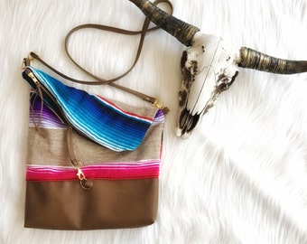 Vegan Brown Leather and Serape Foldover Crossbody Purse
