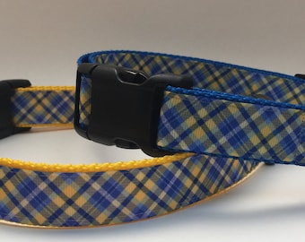 Blue & Yellow Plaid Dog Collar