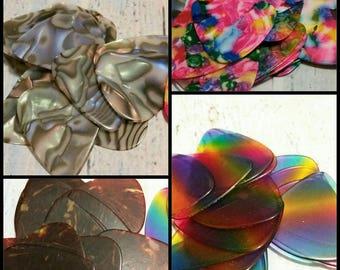 Destash, guitar picks, plectrums, fancy guitar picks, choice of four styles x 20, mother of pearl, rainbow, multicolor, tortoiseshell