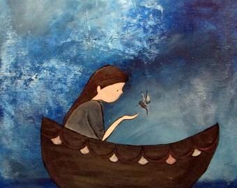 Kids Wall Art Print. Whimsical Artwork, Nursery Print, Girl and Boat