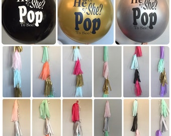 Gender Reveal Balloon, Gender Reveal Tassels, He or She Pop to See, He or She Balloon, Gender Reveal, Expecting, Girl or Boy