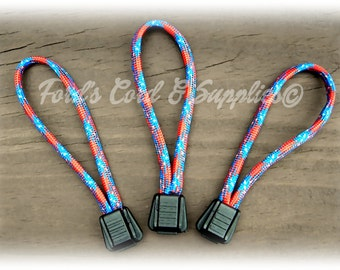 Paracord  Zipper Pulls, Set of 3, Ready to Ship
