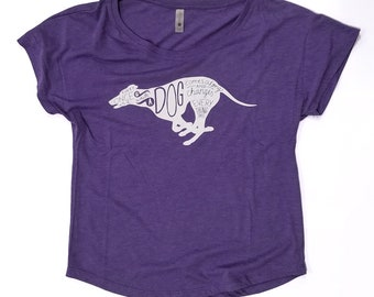 WMCO Silhouette Greyhound, Women's Purple Dolman (Shirts for Greyhound Lovers, Sighthounds)