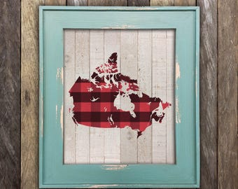 Canada Map Print - Lumberjack Flannel - Canadian Map Buffalo Plaid Province Poster - Lumber - Canadiana - Made in Canada Canadian Sellers