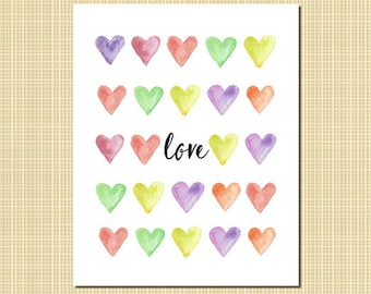 Love with watercolor hearts art print 8x10""