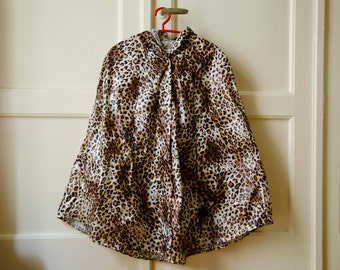 Leopard Print Raincoat, Vintage Inspired Cape with Hood,  Animal Print Available in Brown and Grey, Plus Sizes