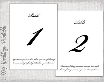 "Table number template -DIY ""Love quote"" wedding number cards Calligraphy digital printable table number templates 4x6 and 5x7 download"