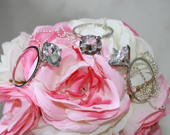 Bride Necklace/ Bachelorette Party Favors / Giant Diamond Ring Necklace -FREE SHIPPING!