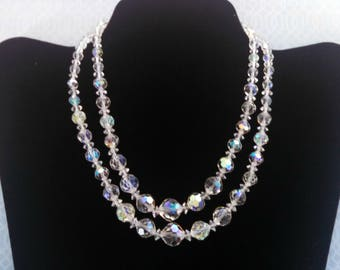 Vintage Necklace, Double Strand Aurora Borealis Bead Necklace by Laguna, Adjustable, Graduated Beads, Mid Century, Circa 1950s, Includes Box