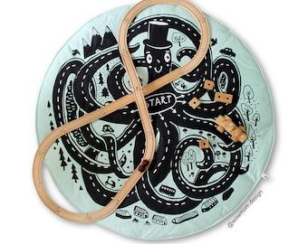 Octopus & road / Floor Mat / Rug / Play Mat / Baby Play Mat / Floor Rug / Playmat / Car Mat / Nursery Rug / Baby Rug / Hand Printed