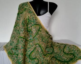 Green Silk Wrap, Large Nuno Felted Silk Scarf, Multicolor Felt Wrap, Wedding Shawl, Felt Light Shawl, Blanket Wrap, Handmade Gift for Woman