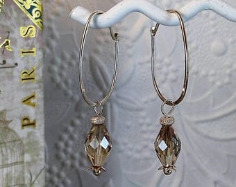 Handmade Sterling Silver Oval Hoop w/Champagne Glass Drop Earrings