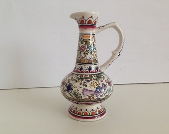 Vintage Vase with Handles - Vase with handle hand painted - Ceramic Vases - 100% hand painted