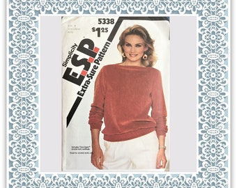 Simplicity 5338 (1981) Misses' pullover top - Vintage Uncut Sewing Pattern