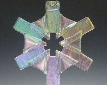 GLOW Clear Iridized Snowflake, Fused Glass Ornament Suncatcher