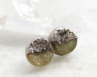 HUGE SALE druzy studs, champagne druzy, silver druzy studs, gold studs, electroformed, post earrings, gifts for her