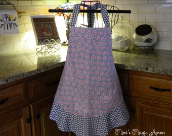 Ladies Full Apron, Grey with Pink Flowers Apron, Woman's full Apron / Retro Style / Full Designer Kitchen Apron / Vintage Apron