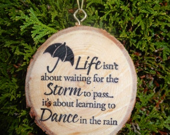 Dance In The Rain Wood Slice Ornament