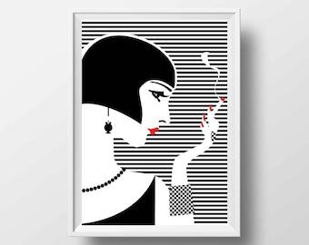 Fashion Art Print Vogue Style  - Poster Illustration Girl Années Folles Pop Art Vogue Digital Fine Art Screen Print Decoration Wall Art