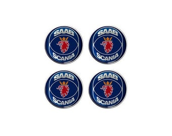 Saab Scania Resin / Gel Domed Self Adhesive Wheel Centers Set of 4 x 65mm