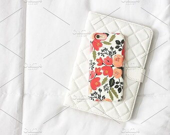 Styled Stock Photo   Floral Phone On White Tablet Case   Blog stock photo, stock image, stock photography, blog photography