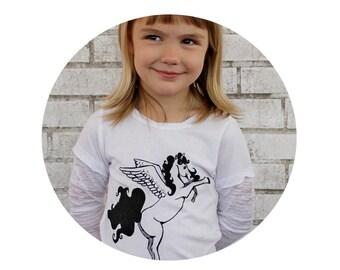 Pegasus Shirt, Unicorn Tshirt, Pegacorn Little Girl Tee, Hand Printed Graphic Tee Shirt, Black and White, Burnout Sleeves, Fantasy Animal