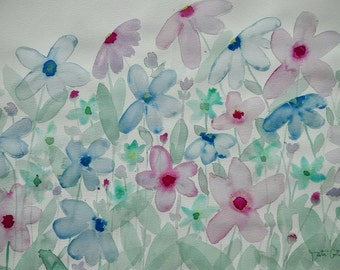 Watercolor flowers large format. Original painting on paper