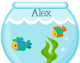 ON SALE Darling fish bowl, bright and colorful boy look fish, under the sea, beach, iron on at Giggles to Go