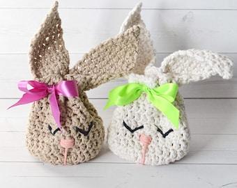 Bunny Treat Bag Crochet Pattern - Easter gift bag - Easter bunny favor - Bunny loot bag - Easter swag