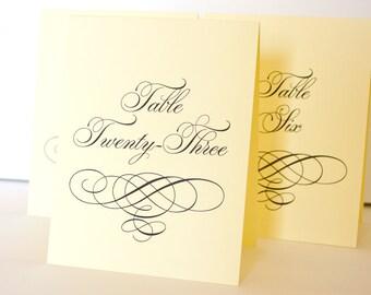 Formal Swirl Printable Table Number Tent Cards DIY You print Instant Download Set 30 Wedding Sign Bridal Shower