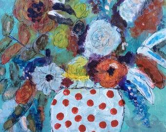 floral digital download, instant download, original art card, fine art card, birthday card, Valentines card, mixed media card