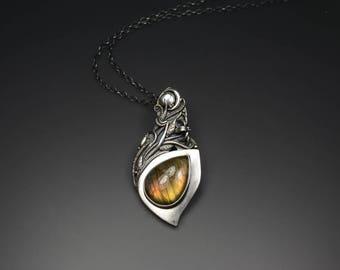 Handcrafted PMC Metal Clay Fine Silver Pendant With Labradorite - Endless Forest