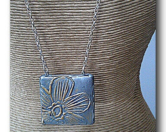 Polymer Clay Pendant, Daisy Necklace, Summer Style Polymer Necklace