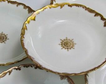 Vintage Limoges France, Tressemann and Vogt White With Gold Scalloped Edge/ Gold Medallion Compass Rose Fruit/Dessert Bowls Set of 6