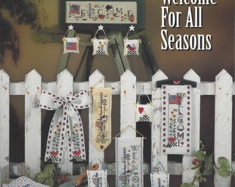 """Clearance-""""Welcome for All Seasons"""" Counted Cross Stitch Booklet by Mill Hill"""
