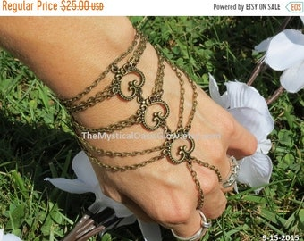 Heart Hand Chain Bracelet Ring Slave Jewelry Slave Bracelet Heart Charms Hand Wrap Bohemian Gypsy Hippie Bling Hipster Bronze