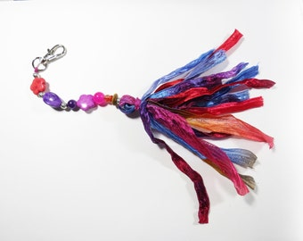 Beaded Tassel Bag Charm, Gemstone Purse Clip, Beaded Boho Purse Charm, Beaded Tassel Keychain Charm, Zipper Pull, Bag Purse Accessory Clip