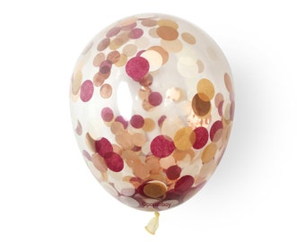 "Confetti Balloon - Mulled Wine - Burgundy Rose Gold - Choose 12, 16, 18, 36 inch - Large & Small 1"" Circle Filled - Tissue Paper Decor"