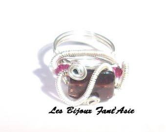 Ring wire wrapped in copper wire and Garnet faceted glass beads and fuchsia Swarovski Crystal beads