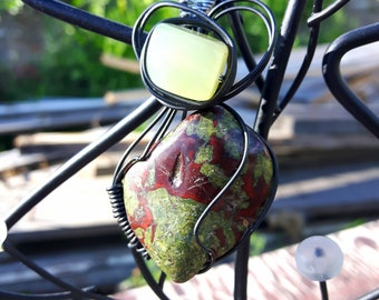 Serpentine & Dragons Blood Jasper Heart Healing Pendant