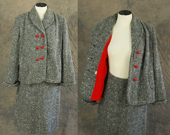 vintage 40s Suit - 1940s Wool Swing Coat and Pencil Skirt - Red and Grey Wool Tweed Suit Blazer and Skirt Set Sz M