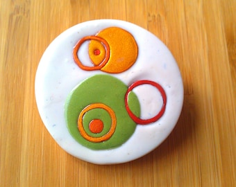 Mod Circles Autumn brooch - polymer clay with gold pin-back