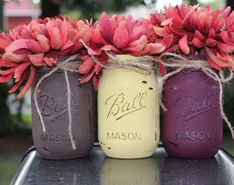 Fall decor Mason jars Fall centerpiece Fall centerpieces for table Thanksgiving jars Painted mason jars Rustic fall decorations