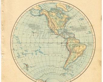 Antique world map 1885 eastern hemisphere digital download antique world map 1885 western hemisphere digital download buy 2 digital downloadsget 1 free gumiabroncs Gallery
