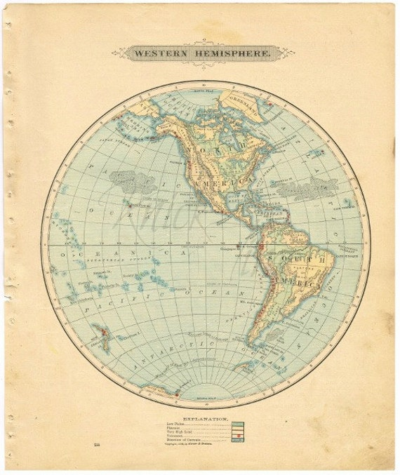 Antique world map 1885 western hemisphere digital download gumiabroncs