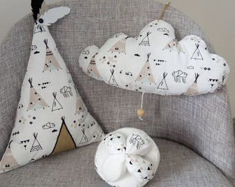 baby gift box, tipi cushion montessorri ball and cloud mobile