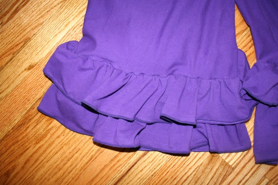 Womens Ruffle Pants Yoga Waist (Custom Made) - Solid Colors with Two Ruffles in Capri Length